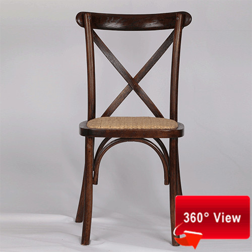 ZS-9002T OAK RATTAN SEAT CROSS BACK CHAIR