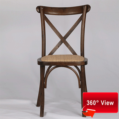 OAK WOOD RATTAN SEAT FRUITWOOD CROSS BACK CHAIR